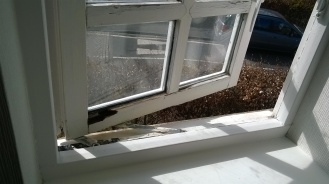 Rotten window frame - before